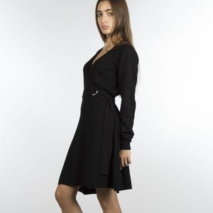 Dresses & Skirts - Black belted sweater dress